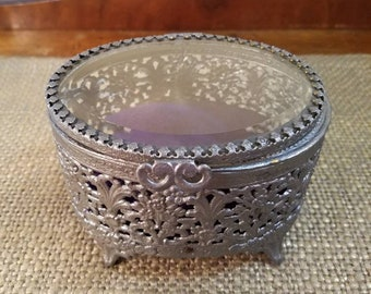 Glass + Metal Oval Painted Vintage Jewelry Box, Metal Beveled Glass Jewel Box, Glass and Metal Trinket Box- Pewter and Purple