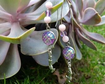 Handmade Gemstone Mermaid Dangle Earrings, Semiprecious Stainless Steel, Dramatic, Pink Jade Aura Quartz, Purple Mermaid Scale Jewelry