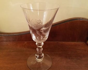 "Vintage Rose by Fostoria Crystal Stemware - 6.75"" - Etched Crystal Water Goblet Glass - Vintage Glass - Chippy Bargain Bin"