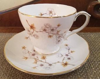 "Vintage Duchess Teacup 2 7/8"" Tall - White Blossom Tea Cup - Vintage Tea cup, Fine Bone China Tea cup, Scallop Edge Dogwood, Cherry Blossom"