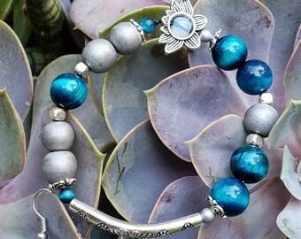Handmade Gemstone Stretch Bracelet, Semi-precious Lotus Theme, Blue Tiger Eye, Silver Matte Hematite and Opalite