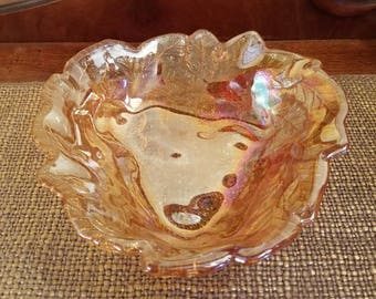 Marigold Carnival Glass Triangular Bowl, Raspberry and Leaves Design Nut Bowl or Candy Dish