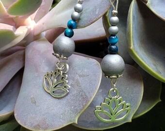 Handmade Gemstone Lotus Dangle Earrings, Semi-precious with Silver Tone, Bead Drop Earrings, Blue Tiger Eye and Matte Silver Hematite