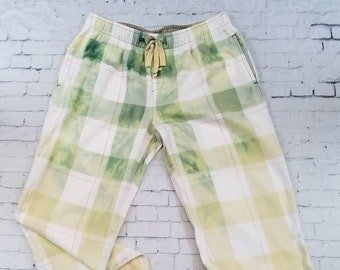 Bleached Flannel Plaid Pants Ladies XS Flannel Pajama Bottoms, Hand Bleached in Cool Ombre Fade Updated Green Flannel bottoms