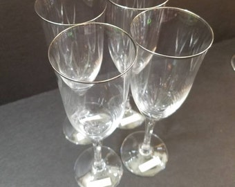 "Vintage Noritake Crystal Platinum Rim Champagne Glasses 8.5"" Tall Spectrum Pattern, Flute Champagne Glass set of 4"