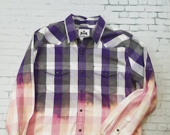 Bleached Plaid Heavy Cotton Shirt Mens XL, Hand Bleached Mens Shirt, Cool Ombre Fade, Boho Grunge