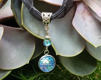 Handmade Gemstone Mermaid Ribbon/Cord Necklace, Semi-precious, Bead Drop Pendant, Rainbow Quartz, Blue Mermaid Bezel Cabochon, Black Cord