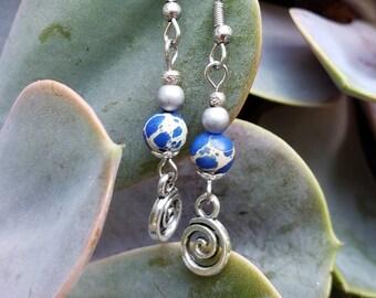 Handmade Spiral Charm Gemstone Earrings, Hematite and Jasper, Stainless Steel Fish hook Earrings, Spiritual Growth, Evolution, Fertility