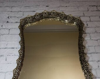 "Shield Shaped Brass Ornate Vanity Mirror Tray, Vintage 16"" Long Floral Embellished Filigree Ormolu Vanity Tray with Feet"