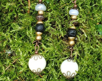 Handmade Gemstone Dangle Earrings, Semi-precious with Matte Gold Tone, Aromatherapy Drop Earrings, Lava Stone, Real Pearl, Black and White