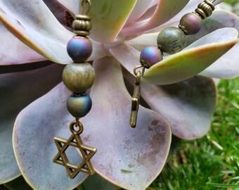 Handmade Gemstone Dangle Star of David Earrings, Rainbow Druzy Quartz with Sandalwood, Antique Brass Fish hook Earrings, Scented Earrings