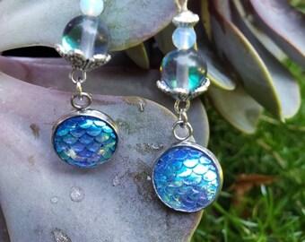 Handmade Gemstone Mermaid Dangle Earrings, Semi-precious Stainless Steel, Bead Drop Earrings, Rainbow Quartz and Opalite, Mermaid Scale