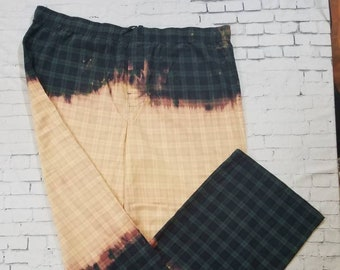 Bleached Flannel Plaid Pants Mens XXL Flannel Pajama Bottoms, Hand Bleached, Cool Ombre Fade Upcycled Flannel, Boho Grunge