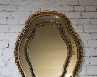 Oblong Brass Ornate Vanity Mirror Tray Set of 2, Vintage Floral Embellished Filigree Ormolu Vanity Tray Set