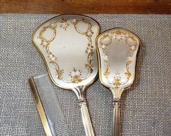 Vintage Gold and Silvertone Floral Vanity Set w Hand Mirror, Brush + Comb - 3 pc Vanity set - Vanity Set- Beveled Edge Mirror