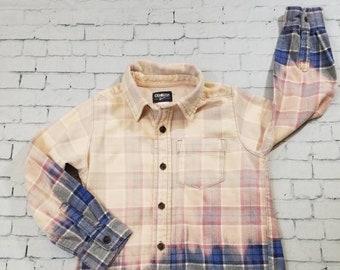 Kids Bleached Flannel Shirt Size 8 Kids, Long Sleeve Flannel Kids Shirt, Cool Ombre Flannel Shirt, Hand Bleached Flannel, Boho Grunge