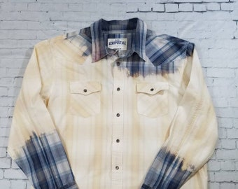 Bleached Plaid Western Shirt, Mens Large, Hand Bleached Mens Shirt, Cool Ombre Fade, Updated Western Shirt, Boho Grunge