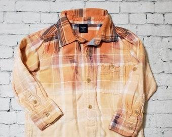 Kids Bleached Flannel Shirt 2T Kids, Long Sleeve Flannel Kids Shirt, Cool Ombre Flannel, Hand Bleached Flannel Shirt, Boho Grunge