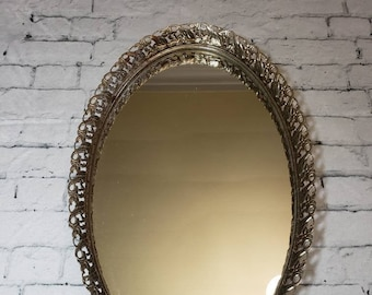 "Oval Brass Ornate Vanity Mirror Tray, Vintage 13.5"" Long Floral Embellished Filigree Ormolu Vanity Tray"