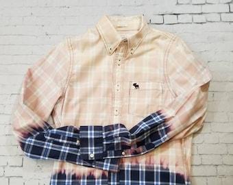 Bleached Plaid Shirt Mens Medium, Hand Bleached Heavy Cotton Mens Shirt, Cool Mottled Ombre Fade, Boho Grunge