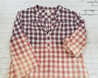 Bleached Plaid Light Cotton Shirt Ladies M 8-10, Hand Bleached Cool Ombre Fade Updated Lightweight Shirt, Boho Grunge