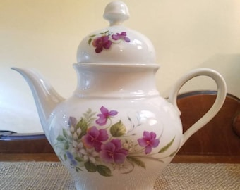 """Vintage Jaeger Teapot  7.5"""" Tall - Made in Bavaria - Germany - Violet/Pansy - Porcelain Teapot with Flowers - Violet Teapot"""