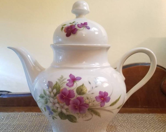 "Featured listing image: Vintage Jaeger Teapot  7.5"" Tall - Made in Bavaria - Germany - Violet/Pansy - Porcelain Teapot with Flowers - Violet Teapot"