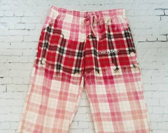 Bleached Flannel Ohio State Pants Ladies Small Petite, Hand Bleached Flannel Cool Ombre Fade, Boho Grunge