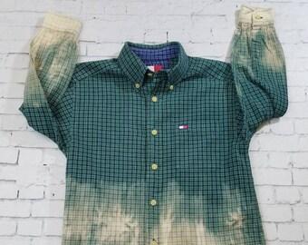 Kids Bleached Flannel Shirt Size 7, Long Sleeve Flannel Kids Shirt, Cool Mottled Ombre Flannel, Hand Bleached Flannel, Boho Grunge