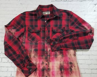 Bleached Plaid Western Shirt Mens Small, Mottled Ombre Updated Western Shirt