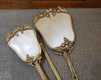 Vintage Gold tone Lily of the Valley Floral Vanity Set w Hand Mirror, Brush + Comb Cover - 3 pc Vanity set - Beveled Edge Mirror