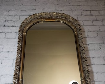 "Soft Rectangle Shaped Brass Ornate Vanity Mirror Tray, Vintage 17.5"" Long Floral Embellished Filigree Ormolu Vanity Tray, Very Heavy!"