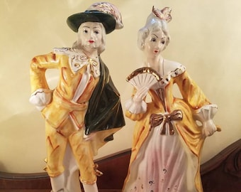 "Ceramic French Figures Very TALL 14.5"" Each, Victorian Lady and Gent made by Imperial Masterpiece Japan"