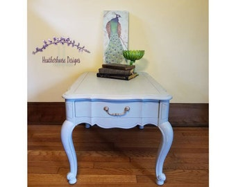 Vintage 1 Drawer Painted Side table painted in Rainy Day Lullaby (Light Gray with Blue Wash) - Matte Finish - French Provincial Table