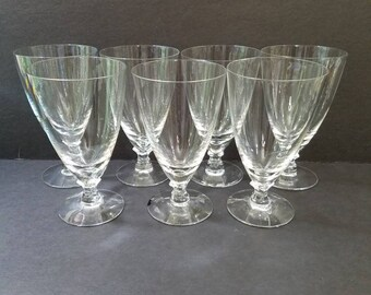 """Courtship Clear by Fostoria Crystal Iced Tea Glasses  6 1/8"""", Set of 7 Crystal Tall Stemmed Ice Tea Glasses"""