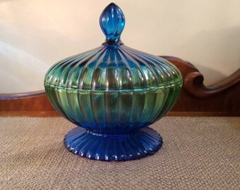 "Vintage Jeannette ""National"" Green and Blue Depression Glass Ribbed Glass Candy Dish - 6 3/4"" - Jeannette Flash Over Candy Dish Ribbed Ball"