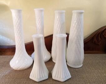 Vintage Milk Glass Vases - Set of 6 - Wedding Decor - Shower Decor - Shabby - Country - Farmhouse - Cottage