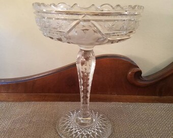 "Vintage McKee Edwardian Pedestal Compote - 8.5"" Tall - Pressed Glass Cut Glass - Vintage Glass - Early 1900's Pressed Cut Glass Comport"