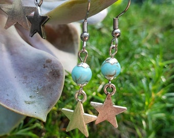 Handmade Gemstone Dangle Star Earrings, Semiprecious Bead Drop Ears, choose Stainless Steel or Antique Brass, Pink Lavender Jade, Howlite