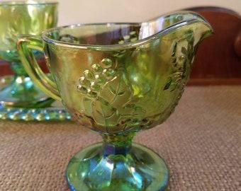 Vintage Green Carnival Glass Cream Pitcher, Green Iridescent Glass Grape Harvest Creamer, Indiana Glass Co.