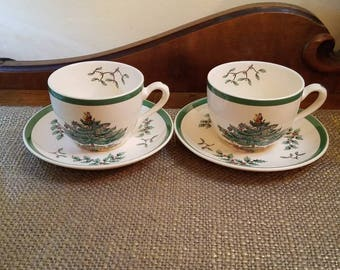 """Vintage Spode Christmas Tree Teacup Set 2.5"""" Diameter, Made in England- Spode Holiday Tree Teacup Christmas Tree and Holly"""