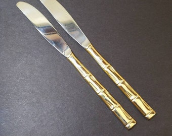 Vintage Barclay Geneve Gold Plated Dinner Knives (Butter knife), Set of 2 Made in Japan Barclay Geneve Golden Bamboo