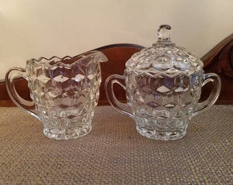 "Vintage Colony Whitehall Cream and Sugar Set - 5"" and 4"" Tall - Cube Design Cream and Sugar - Vintage Glass Creamer and Covered Sugar Bowl"