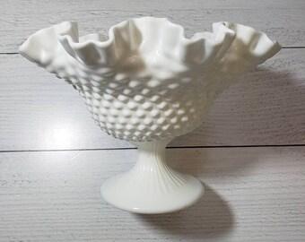 "Fenton Milk Glass Hobnail Ruffled Edge Compote, 9.5"" Diameter in Hobnail, Pedestal Candy Dish, Fenton #3731"