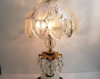Hollywood Regency Table Lamp with Crystals, Satin Glass Dome