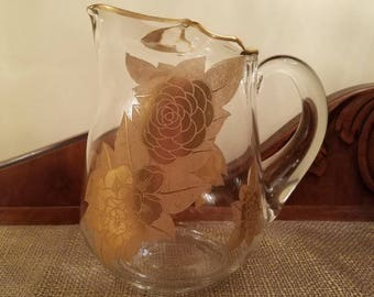 Vintage Glass Water Pitcher with Embossed Gold Roses, Gold Rimmed Iced Tea Pitcher
