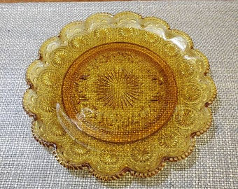 "Amber Glass Scalloped Edge Hostess Serving Tray 10"", Starburst, Scrolling and Beaded Edge"