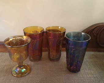 Carnival Glass Water Goblet Indiana Glass Co. Mixed lot - 4 Glasses - Water Glasses, Water Goblet, Blue Amethyst, Amber Glass
