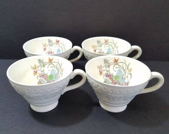 Wedgwood Set of 4 Teacups (no saucers) Montreal Pattern, 1930-1957 Ivory with Floral, 2 Sets Available, Choose Condition
