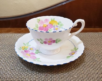 Vintage Tuscan Fine Bone China Demitasse cup Set in Pink Daisies with Blue Thread Piping, Pattern C8515  Espresso cup with Scalloped Edge